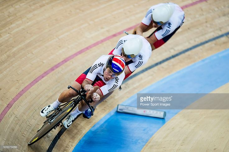 Mark Cavendish, Oliver Wood, Kian Emadi, Christopher Latham of Great Britain competes during the Men's team pursuit qualifying as part of the UCI Track World Cycling on January 15, 2016 in Hong Kong, Hong Kong. #rm_112