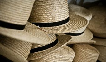 the men wear these straw hats. Especially made to fit well.   ........Amish life