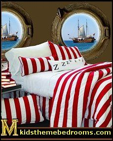 I feel like this bedding would be perfect... not too boyish and not too girly, just piratey enough... maybe could do red for one, blue for another and purple for another? All the same???