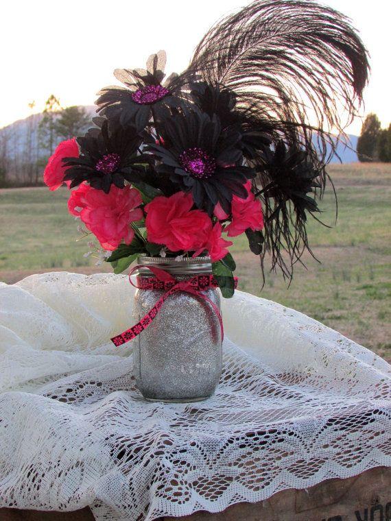 Glitter Mason Jar Painted Rustic Wedding Decorated Centerpiece