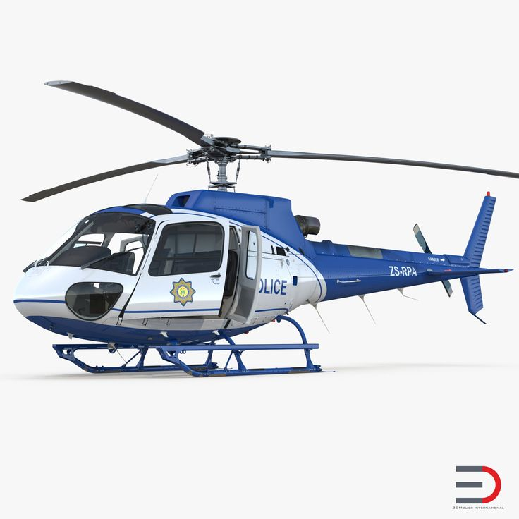 3D Police Helicopter Eurocopter AS-350 Rigged model