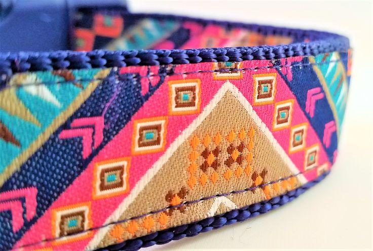 The Hippie Hound, Dog Collar, Boho, Bohemian, Large Dog Collar, Side Release Buckle, Martingale, Eclectic, Adjustable, Geometric, Bunting by StinkyandSweetPea on Etsy