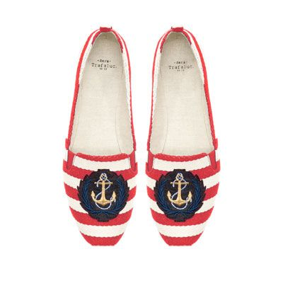 NAUTICAL STRIPE CANVAS SLIPPERS from Zara