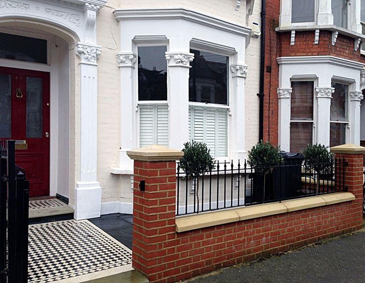 Victorian-Front-Garden-Design-London-Mosaic-Tile-Path-Red-Brick