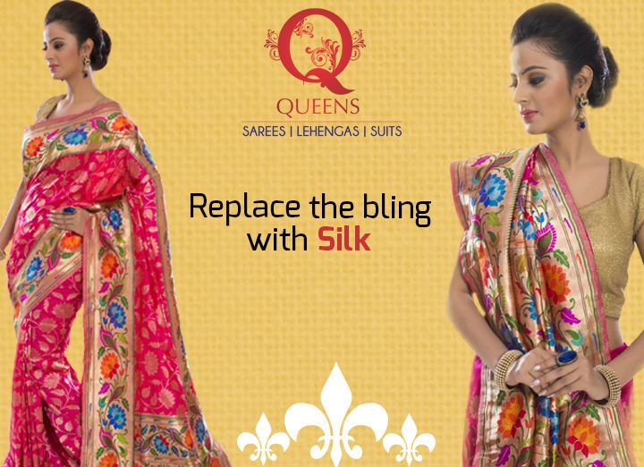 Choose an antique zari weave or antique embroidery on the silk sari & go simple with your hair, make-up and jewellery. ‪#‎QueensEmporium‬ ‪#‎Sarees‬ ‪#‎Trends‬