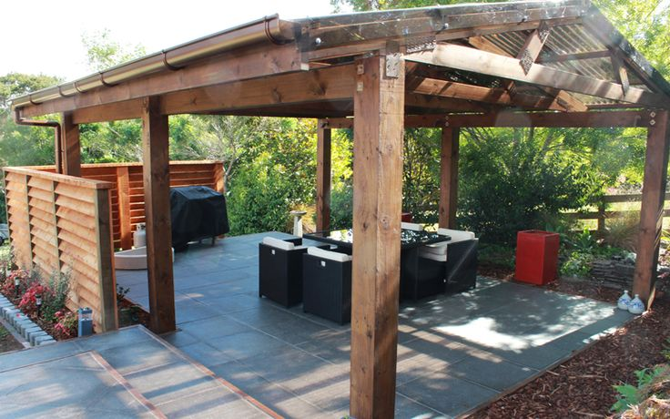 Pergola with Paving and Outdoor Dining - Albany