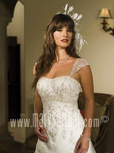 Outlet Detachable Cap Sleeves Sleeveless Floor Length Wedding Dress Clearance