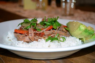 Cuban Beef with Bell Peppers and Avocado - crockpot recipe