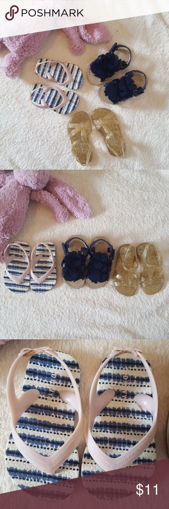 Bundle Toddler Girls Sandals 1 pair Old Navy Flip Flop sz 5 1 pair Gymboree ruffle sandals sz 5 1 pair Old Navy jelly glitter sandals sz 5  All preowned but hardly worn. LOTS of life left. Sold as bundle Only. Must go!! Gymboree Shoes Sandals & Flip Flops