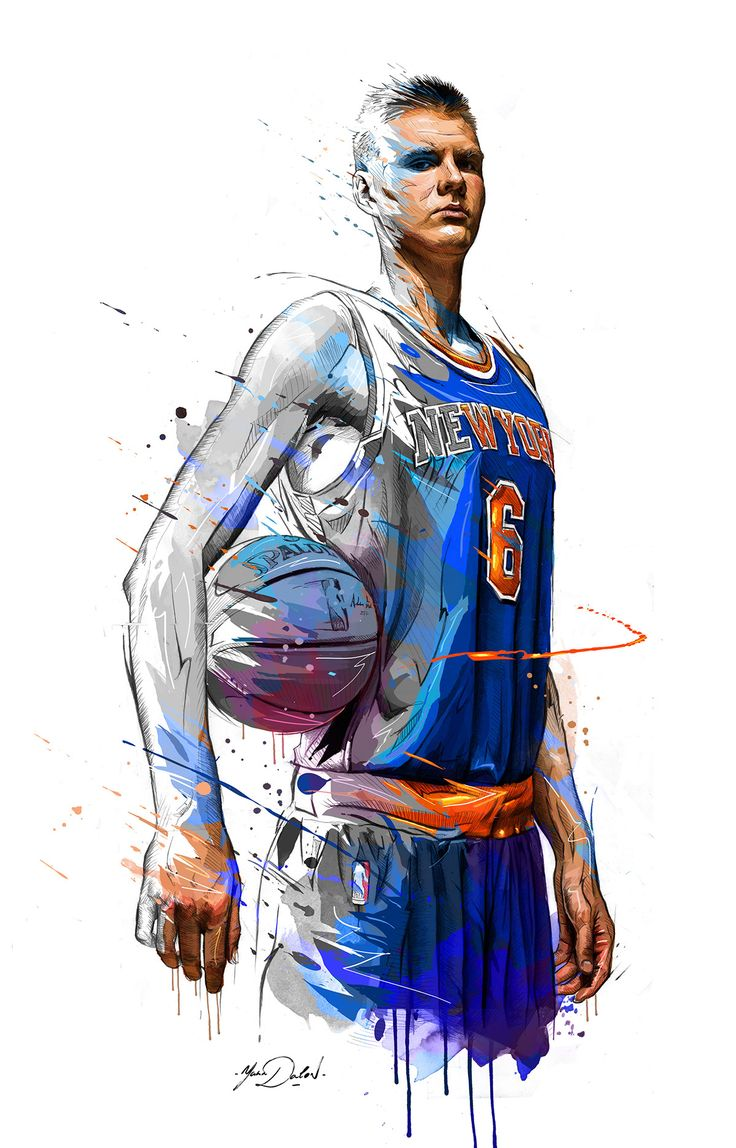 For the All-Star Weekend, my painting of Kristaps Porzingis,the new star of New York Knicks.