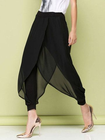 Women Hippie Baggy Harem Pants Chiffon Trousers - Newchic