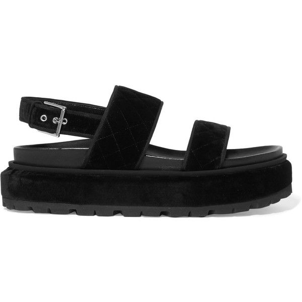 Alexander McQueen Quilted velvet platform sandals (4,355 CNY) ❤ liked on Polyvore featuring shoes, sandals, velvet sandals, black velvet shoes, black strappy shoes, strappy platform sandals and chunky platform shoes