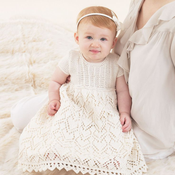 The Sublime lace Christening Gown in Egyptian cotton dk - an exquisite hand knitted design.