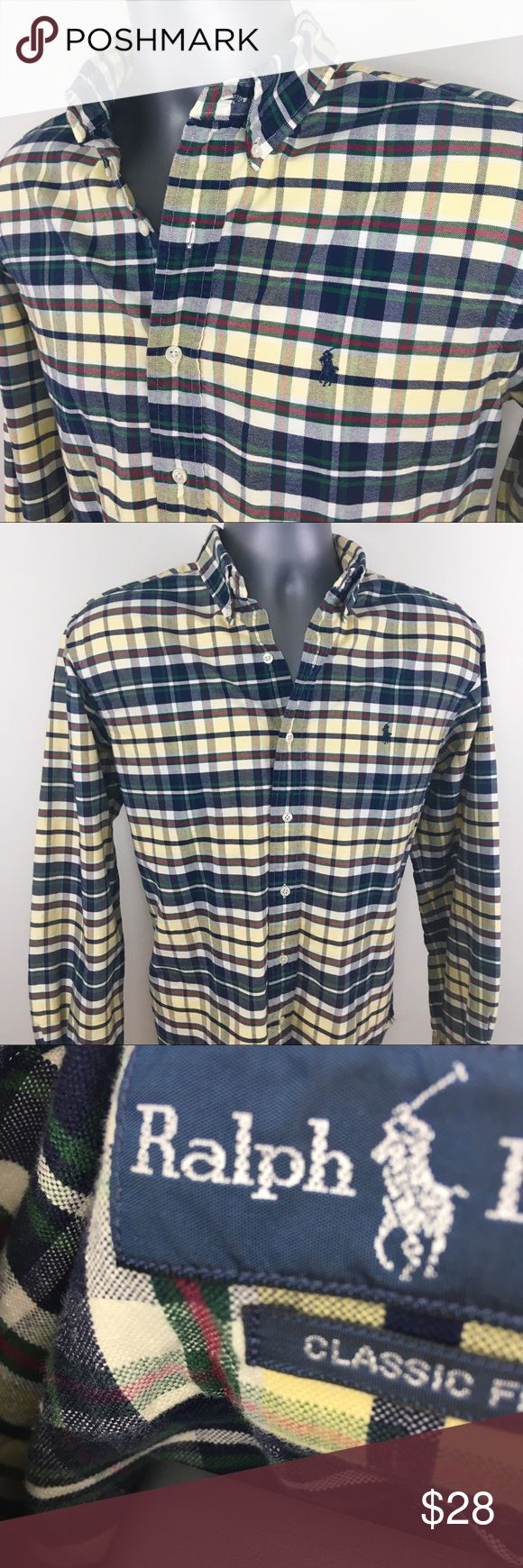 ✨Ralph Lauren Men's Plaid Button Down Shirt Ralph Lauren Men's Plaid Button Down Shirt  ▪️Size Large - Neck 16 - Sleeves 34/35 ▪️Blue & Yellow Plaid  ▪️Pony logo on chest  ▪️100% Cotton  ▪️Made in the Philippines 🇵🇭 ▪️Excellent Condition ‼️ Polo by Ralph Lauren Shirts Casual Button Down Shirts