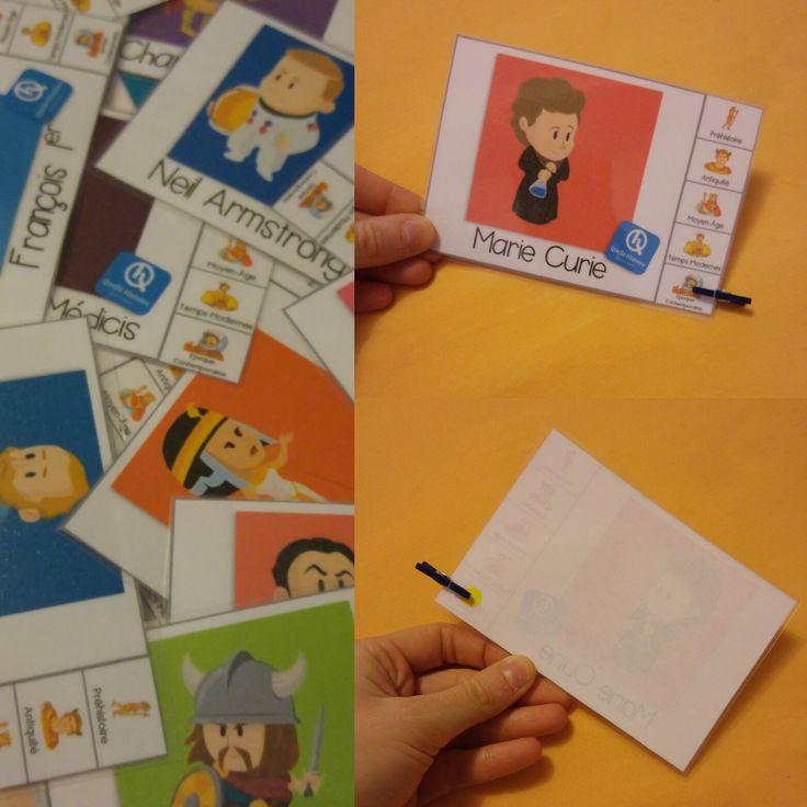 Mes clothespin cards sur les personnages historiques (à destination des élèves de CE2) !