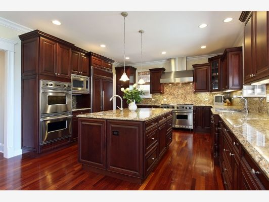 New Kitchen - Home and Garden Design Idea's...don't really like the dark floor; it doesn't look good with the dark cabinets.