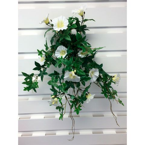 "UV Protected Outdoor Morning Glory Hanging Bush in Cream Outdoor Artificial Flowers 20"" Long"