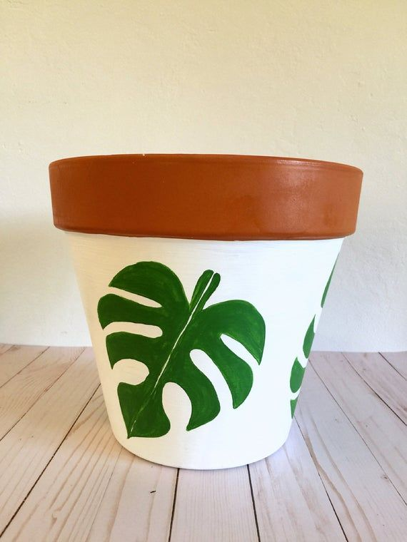 Hand Painted 12 Inch Monstera Terracotta Clay Pot Hand Etsy With Images Terra Cotta Clay Pots Pottery Painting Designs Painted Pots