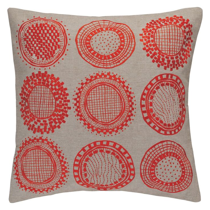 CIRCLES Orange embroidered cushion 50 x 50cm