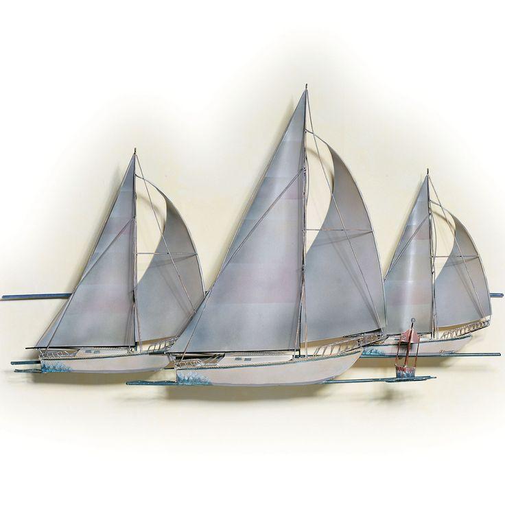 Metal Wall Decor Sailboats : At the races sailboat metal wall sculpture lighthouse