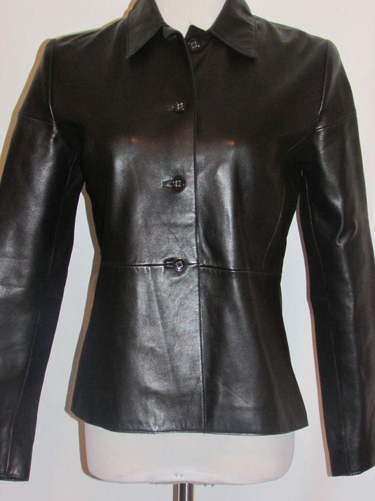 BANANA REPUBLIC Sz XS Ladies Black Leather Jacket Immaculate! #BananaRepublic #BasicJacket