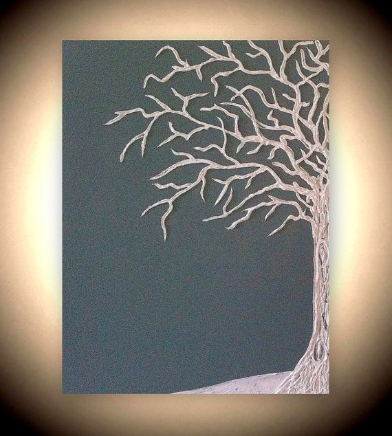 """Custom Original Abstract Textured Sculptured Painting """"Dedicated to you"""" in blue/grey 18 x 24 in"""