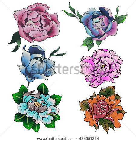 Peony Set Colorful Sketch Traditional Tattoo