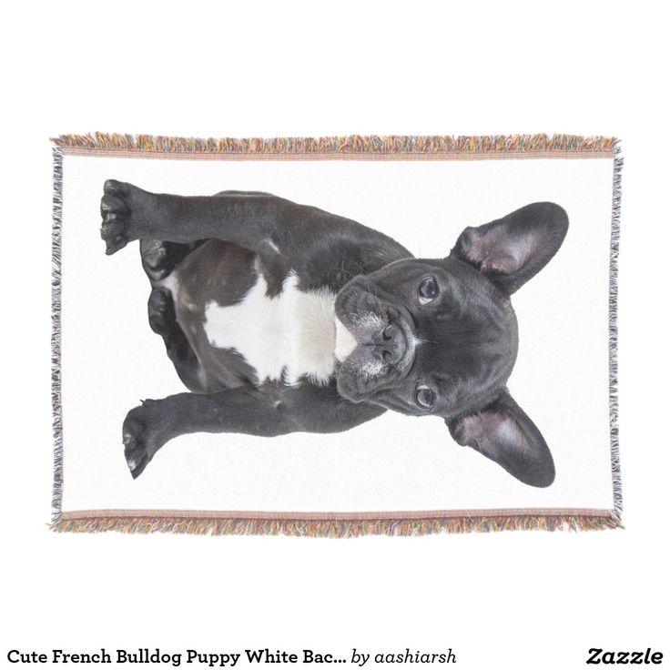 #Cute #FrenchBulldog #Puppy White Background Throw #Blanket