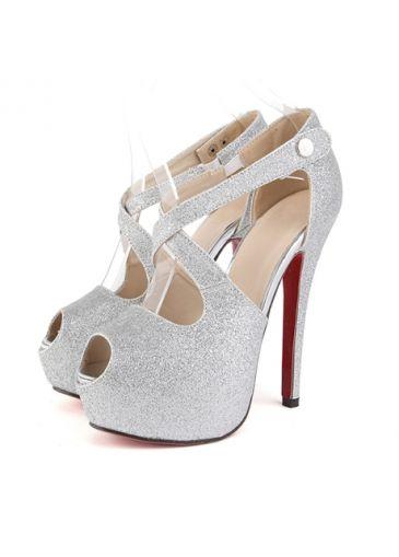 Comfortable Cross Strap Peep Toe Silver High Heels