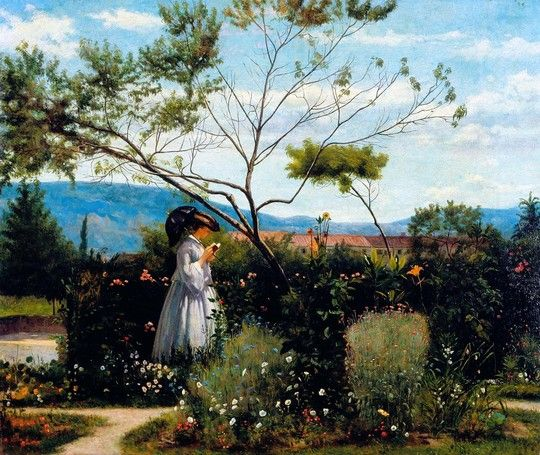 Silvestro Lega: Tra i fiori del giardino, 1863