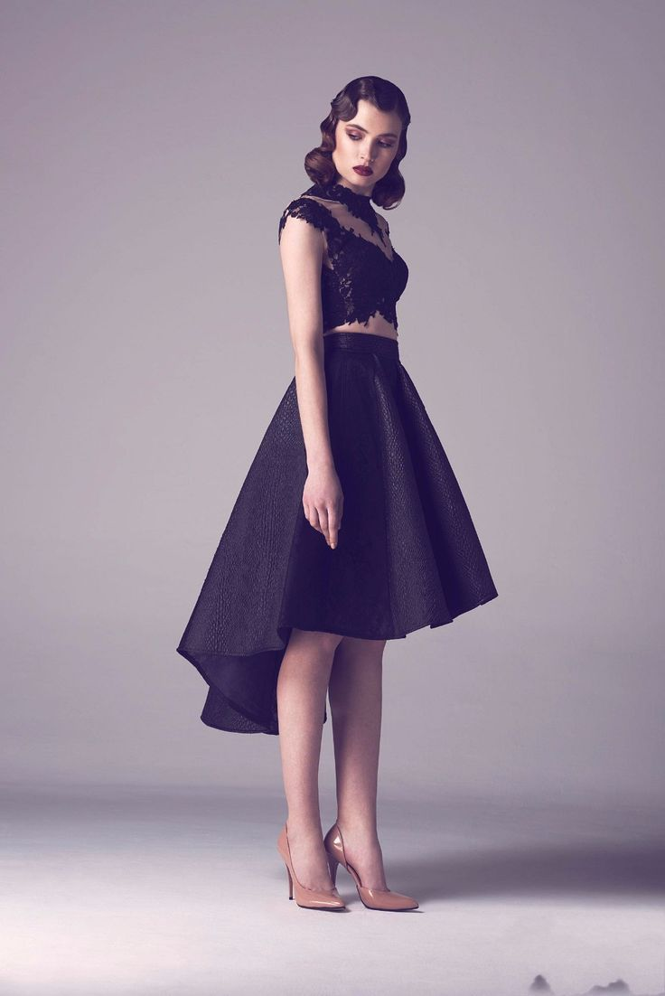 Elegant Cocktail Dresses Designs 2016 : Sexy Black High Low Mid Calf Cocktail Dresses Lace Elegant Dress To Formal Party Appliques 2016
