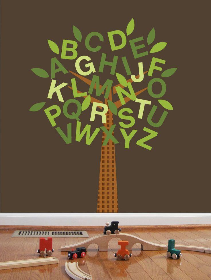 Tree Sticker for walls, ABC Tree, Custom color and sizes, Nursery Art, Wall Art, Tree Decal. $55.00, via Etsy.