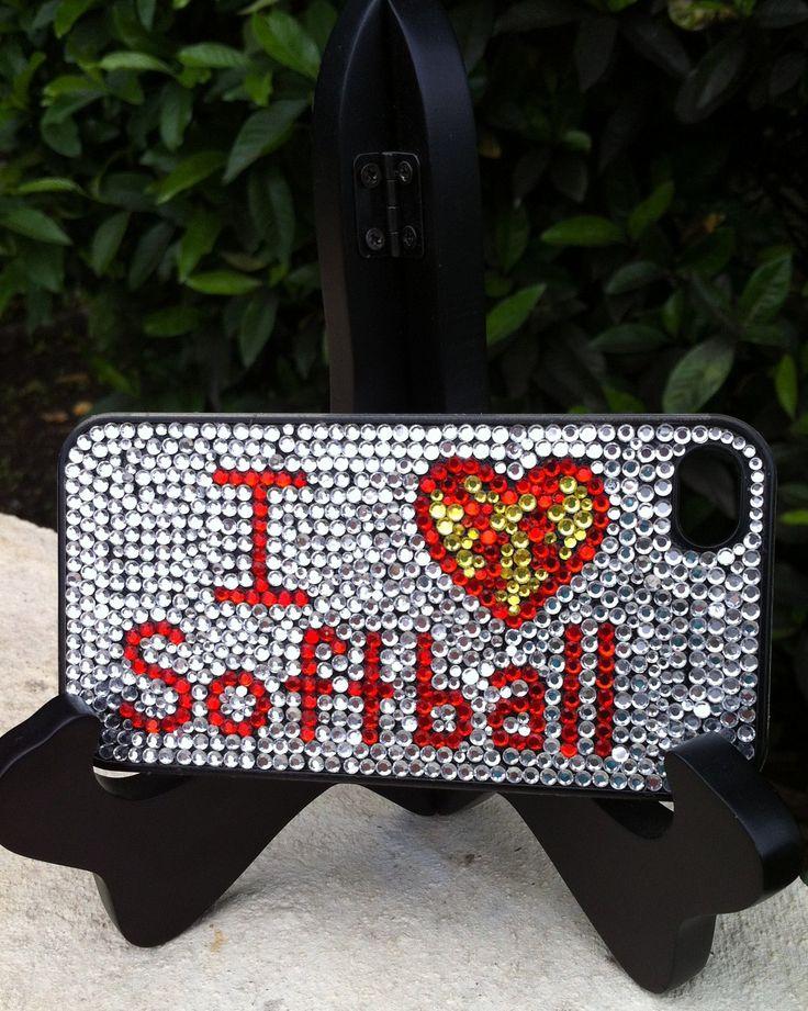I Love Softball Rhinestone Phone Case fits iPhone 4/4S