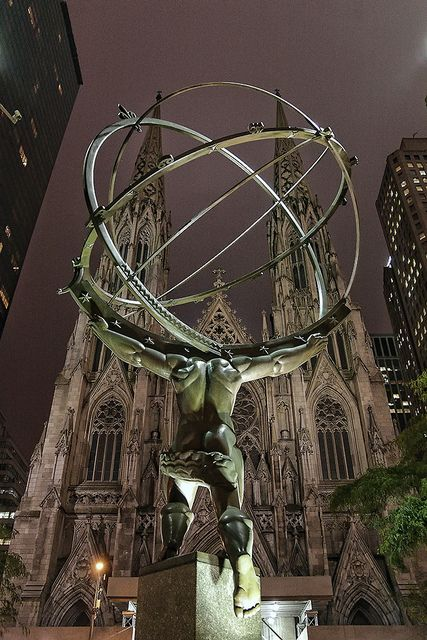 NYC. Rockefeller Center Atlas & St. Patrick's Cathedral at Night
