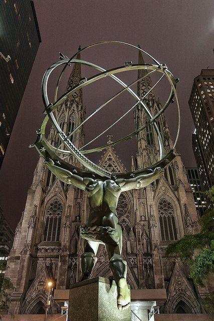 Rockefeller Center Atlas & St. Patrick's Cathedral at Night