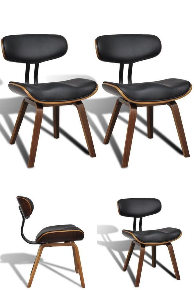 Wooden Dining Room Chairs Vintage Black Leather Seating Kitchen Office Furniture