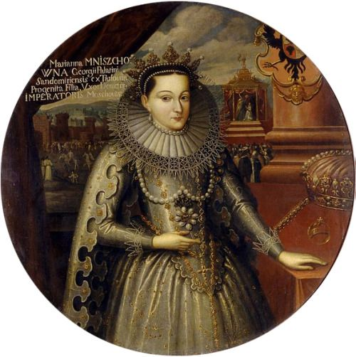 Tsarina Marina Mniszech, wife of Boris Godunov, in her coronation robes by Szymon Boguszowicz,  1606