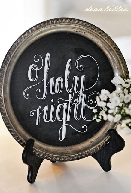 Love the idea of turning an old silver platter into a chalkboard