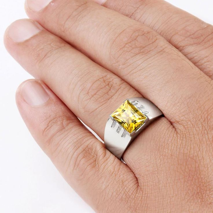 Men's Ring with Yellow Citrine Gemstone and Natural Diamonds in Sterling Silver - J F M