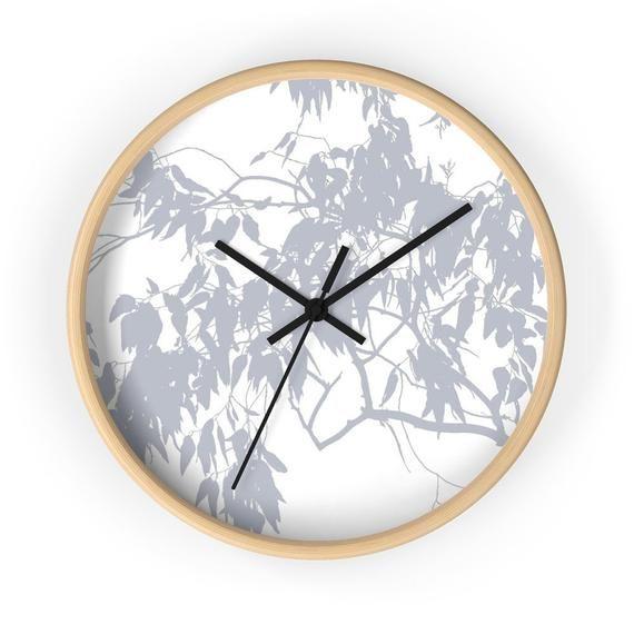 Eucalyptus Wall Clock White Gray Minimalistic Design Wall Etsy In 2020 Scandinavian Wall Clocks Wall Clock Modern Wall Clock