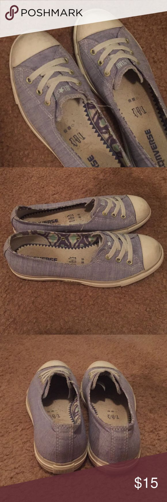 Unique Converse slip ons! You'll stand out with these super cute converse slip ons. A style that not everyone has and can go with almost anything. They're a pale purple color and in great condition. Converse Shoes Sneakers