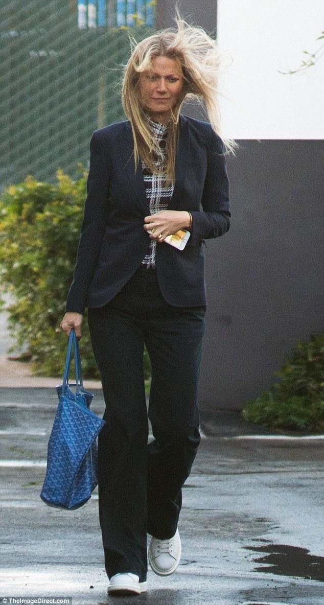 Gwyneth Paltrow wearing Goyard Large St Louis Tote Bag in Blue