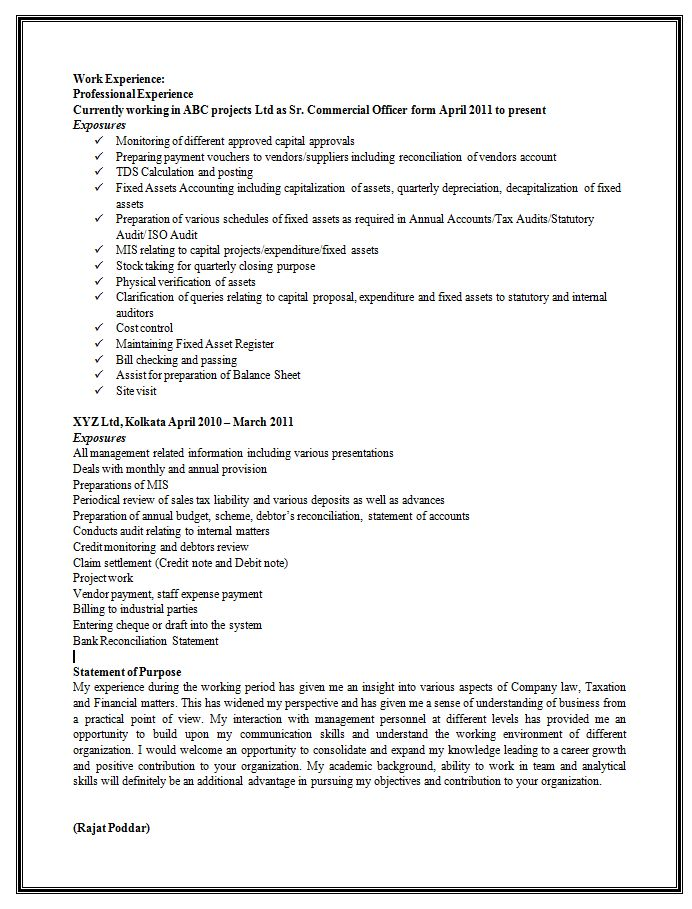 Sample Resume Format for Experienced (2)