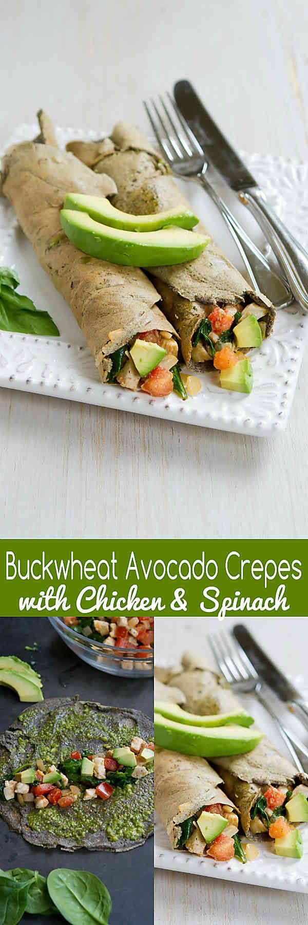 These Buckwheat Avocado Crepes with Chicken and Spinach make a fantastic savory brunch or dinner meal! 195 calories and 5 Weight Watchers SmartPoints