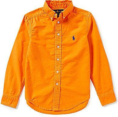 Ralph Lauren Childrenswear Big Boys 8-20 Solid Long-Sleeve Oxford Shirt