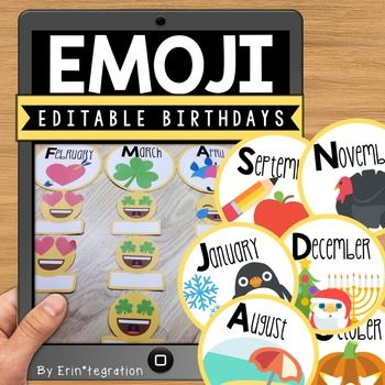 Emoji Birthday set. Create an Emoji themed birthday display! Several options for displaying - can also be used as a back-to-school graphing game. Includes 12 Emoji themed month cards (alternative cards for August