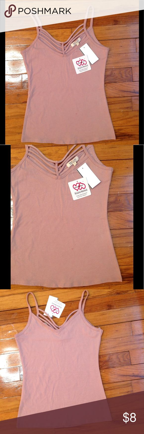 Nwt💖 Strappy top Nwt, blush nude color, strappy front, wore this only take a picture, never worn out, does have a little makeup stain on the front (could be taken out in the wash) *price firm bundle & save Papaya Tops Tank Tops