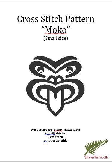 Simple yet elegant cross stich pattern of a Moko by SilverfernDK, kr 30.00