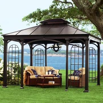 Aluminum Hardtop Gazebos--this is smart. When it fades, you can repaint.  Plus, it would sound so cool in the rain.