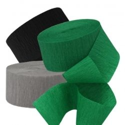 Green, white black crepe paper -- for x-box party
